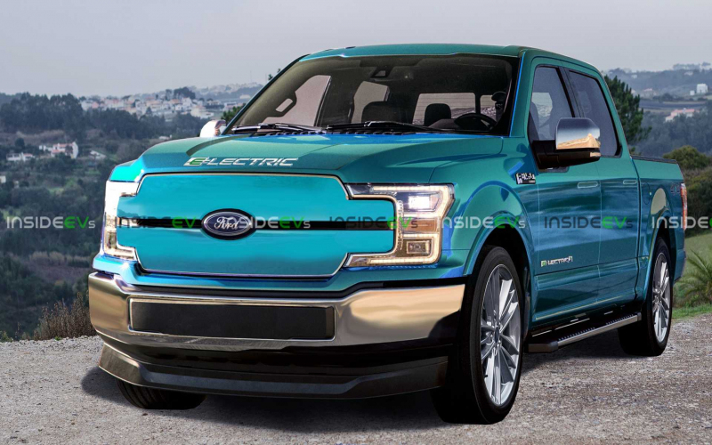 Ford F-150 Electric Truck Rendered: Mach-E Style Grille